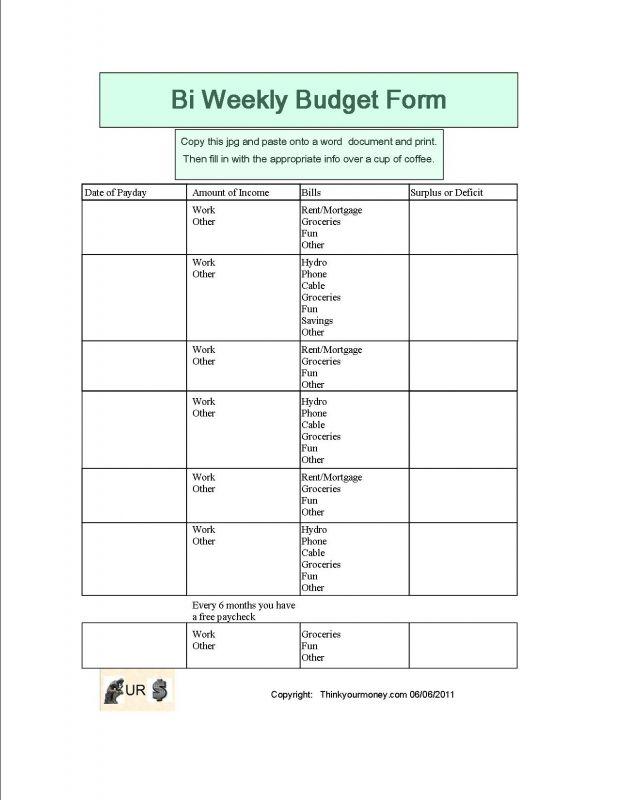 BI-WEEKLY BUDGET WORKSHEET - Google Search money money Pinterest