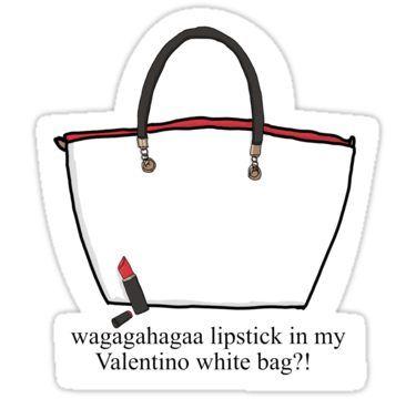 b5956e3f0203 Lipstick in my Valentino white bag ! Sticker