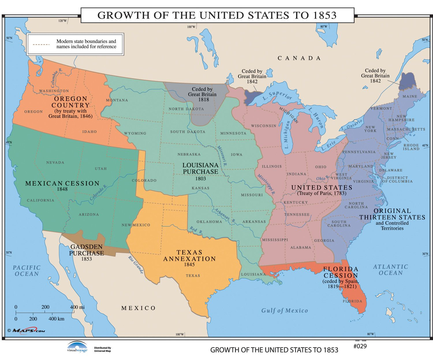 History wall maps growth of us to 1853 us history wall maps growth of us to 1853 gumiabroncs Image collections