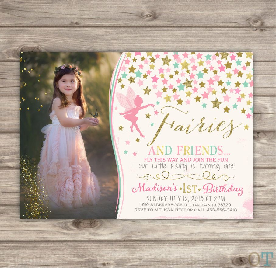 Fairy Birthday Birthday Invitations Photo Shabby Chic Pink Picture Gold Picture Glitter Theme Party girl First