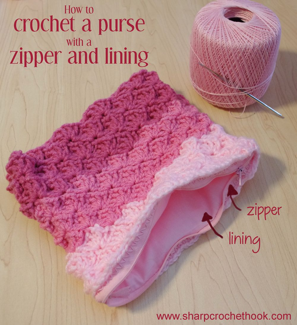 Knitting Zipper Tutorial : How to crochet a purse with zipper and lining tutorial