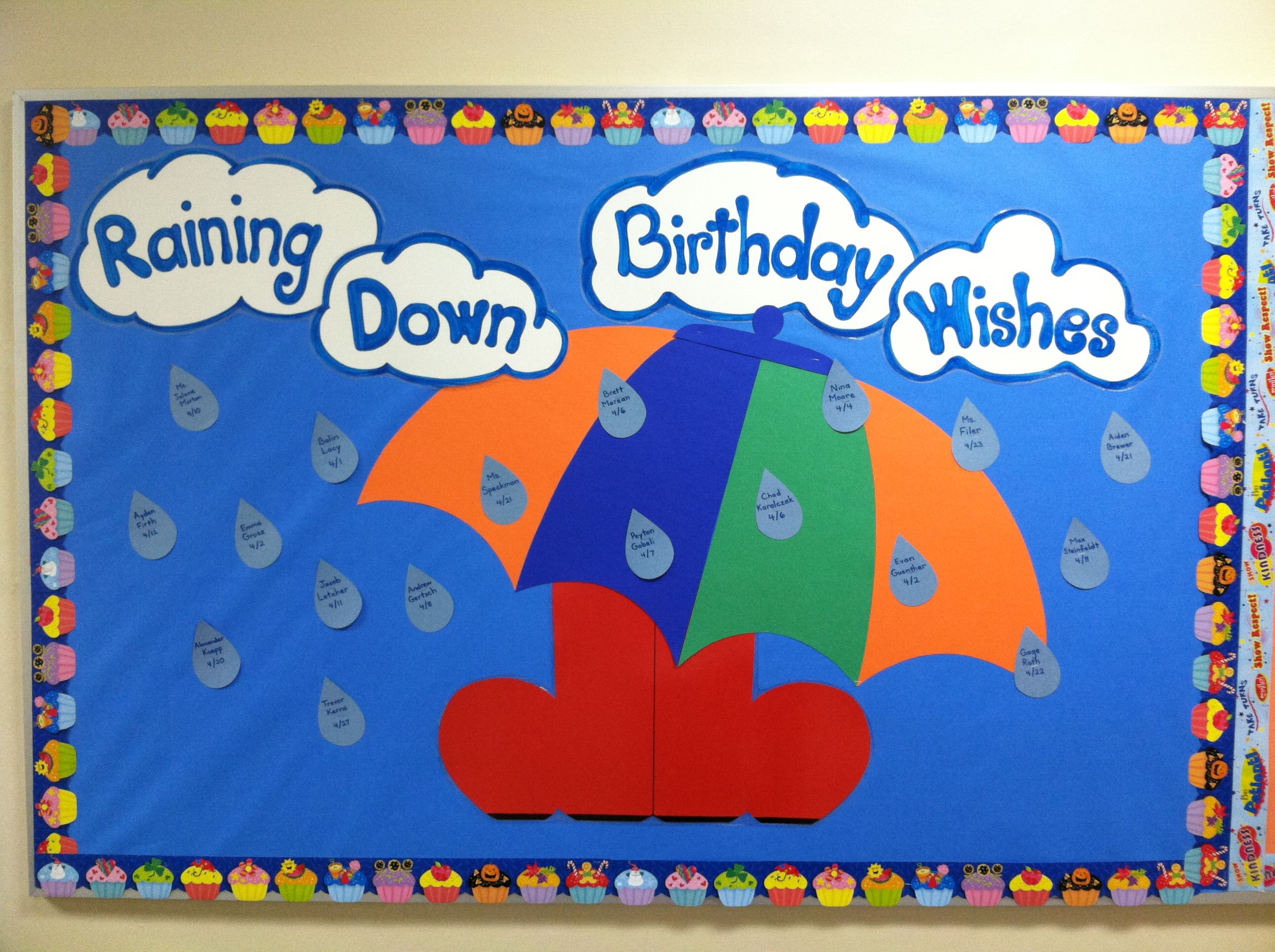 April Birthday Bulletin Board Raining Down Birthday