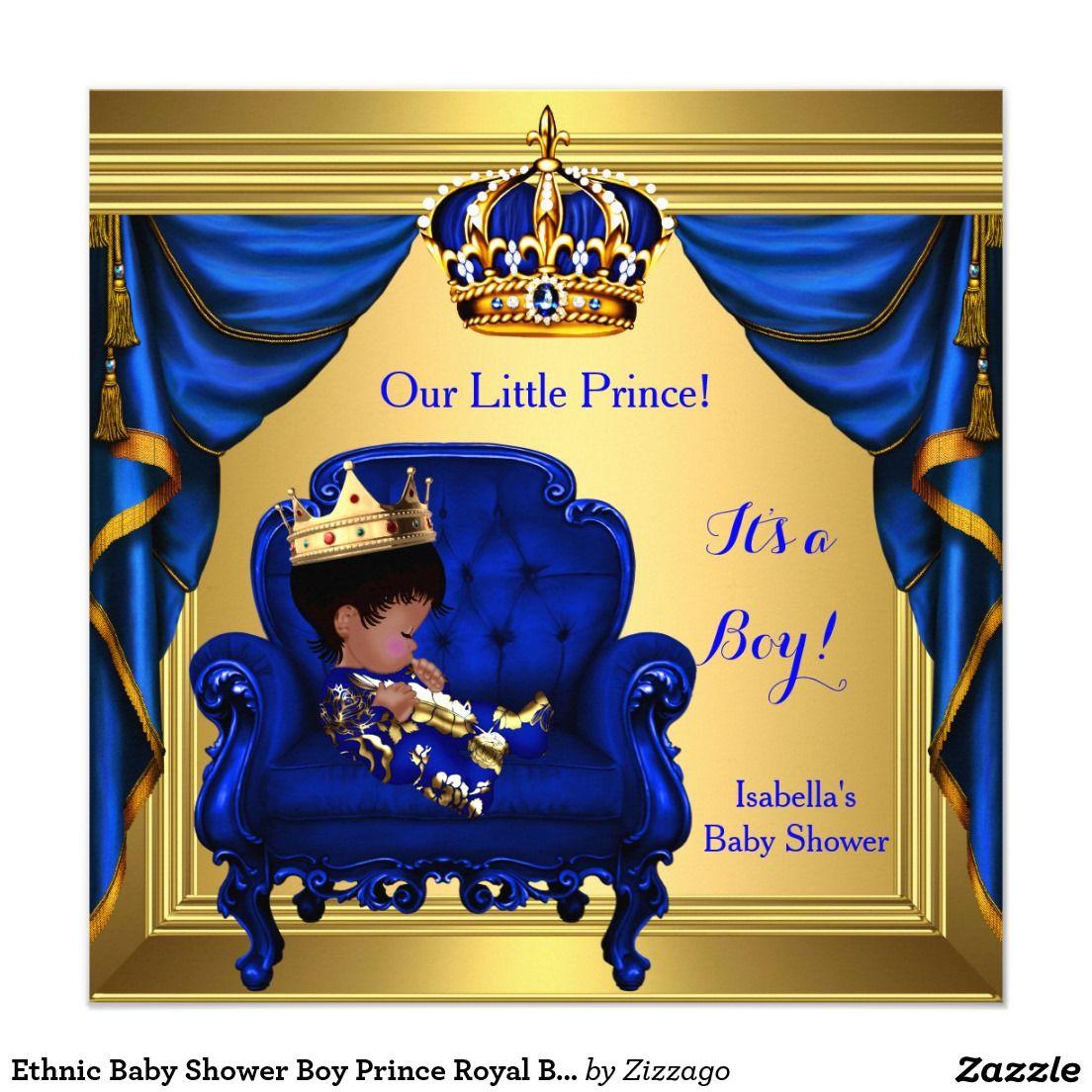 Ethnic Boy Baby Shower Prince Royal Blue Gold Invitation