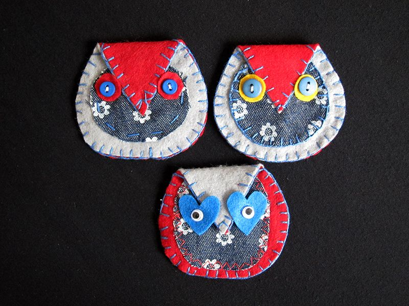 Brooches (owl) for denim jacket or coat.  To cute.