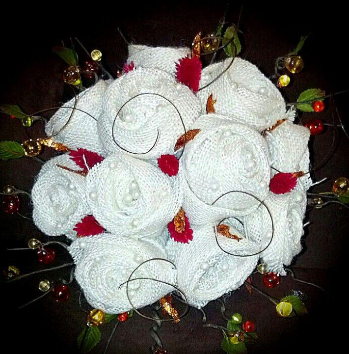 Burlap rose bouquet