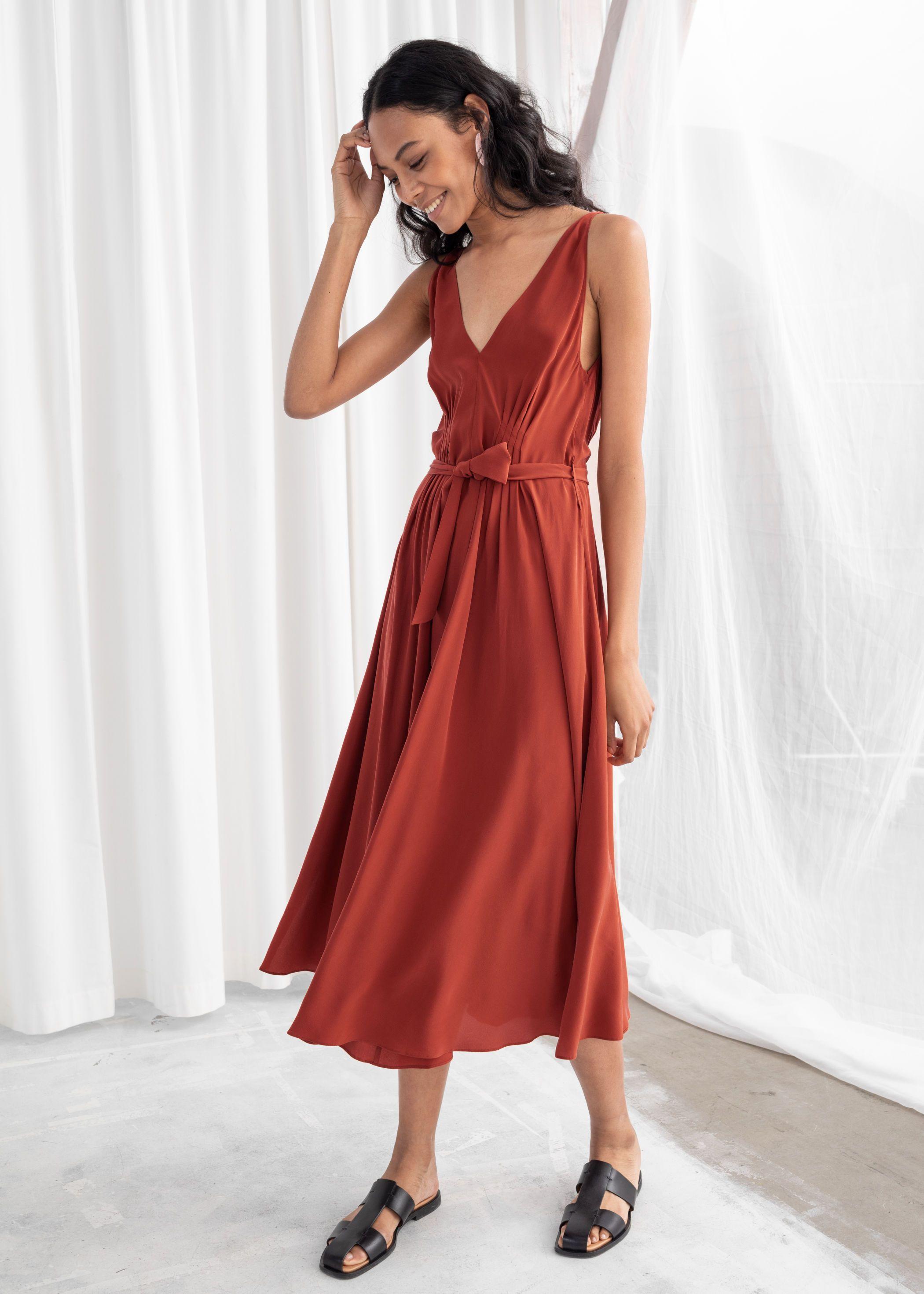 62588cbec5d5 Belted Silk Midi Dress - Rust - Midi dresses -   Other Stories ...