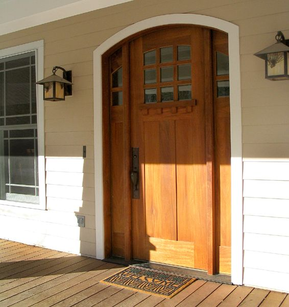 Craftsman Style Arched Mahogany Entry Door With Sidelights