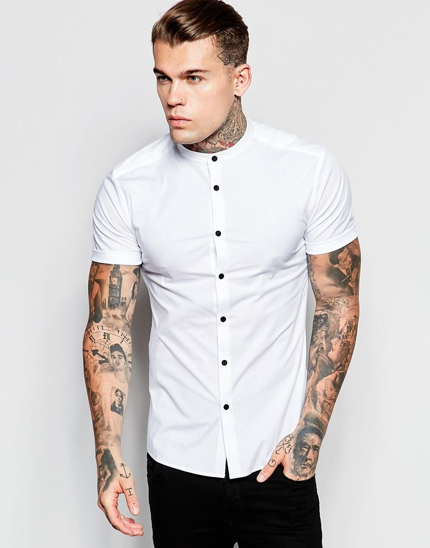 fedd13c827f0 Image 1 of ASOS Skinny Shirt In White With Grandad Collar And Contrast  Buttons In Short Sleeves