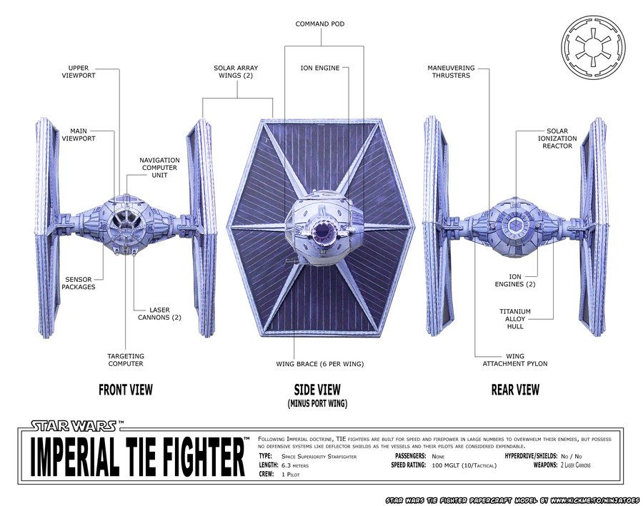 Papercraft Star Wars TIE-fighter schematics by ninjatoespapercraft on tie advanced, tie phantom, y-wing schematic,