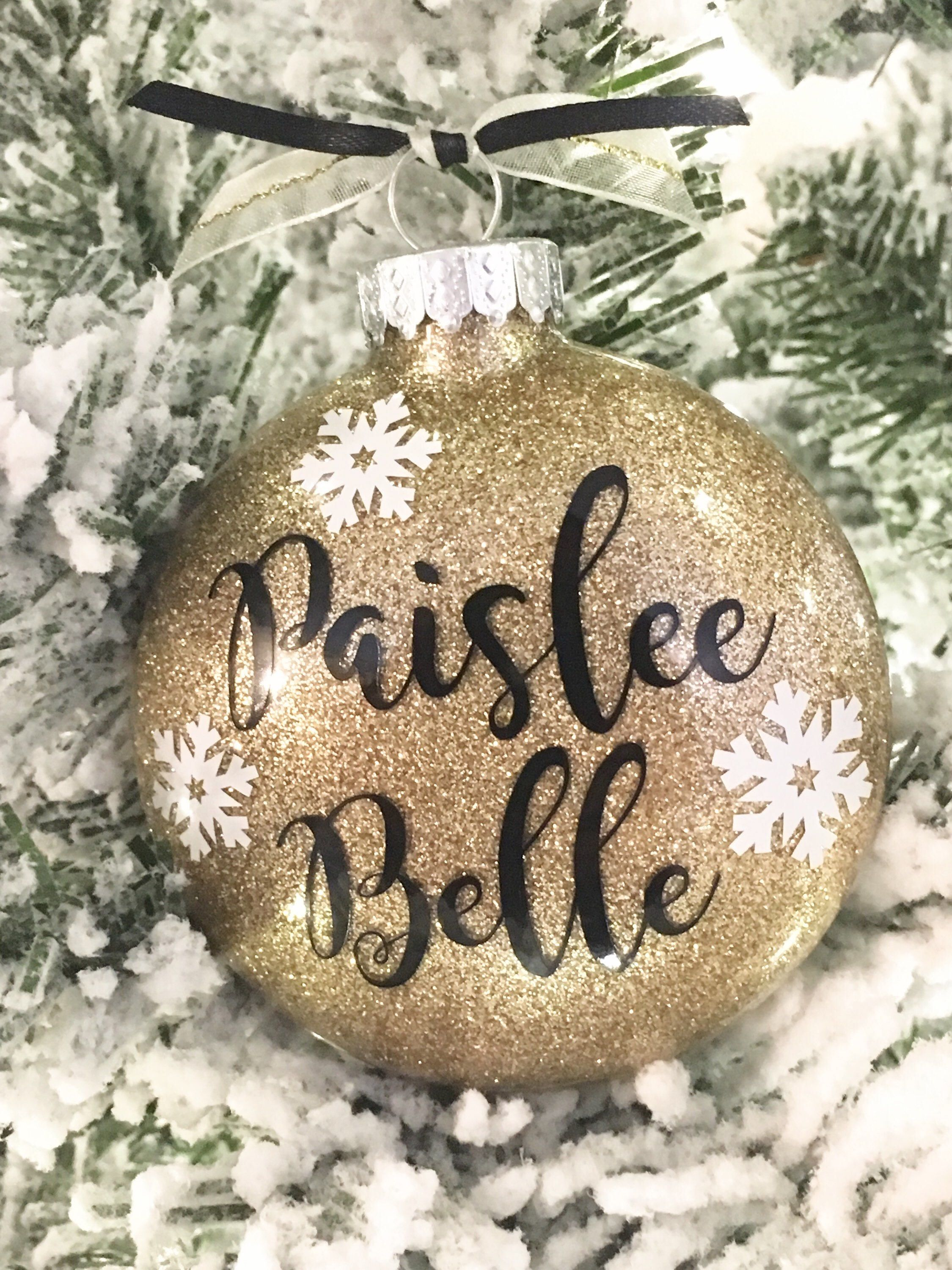 Name Ornament Personalized Christmas Ornament Child S Etsy Christmas Ornaments Glitter Christmas Personalized Christmas Ornaments