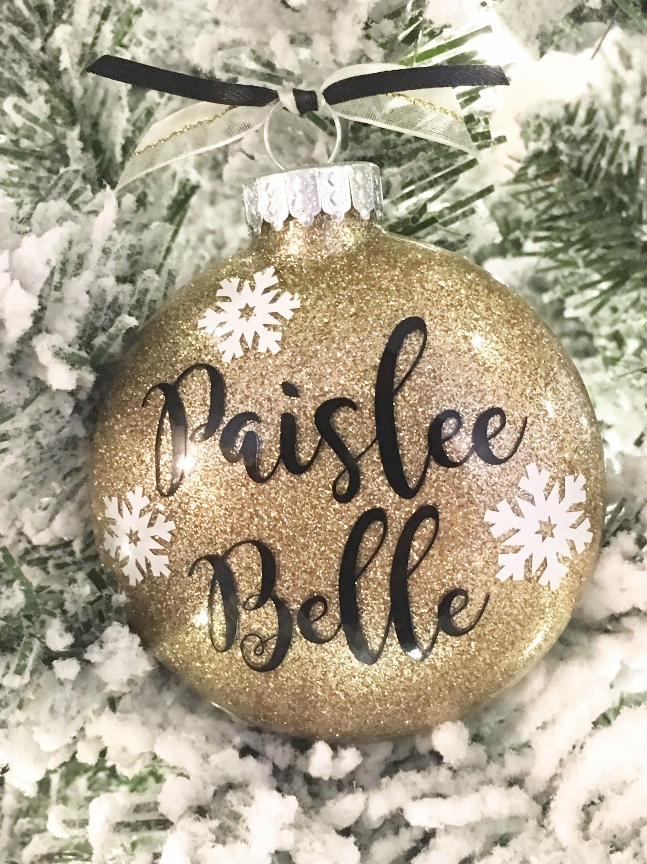 Personalized Snowflake glitter ornaments