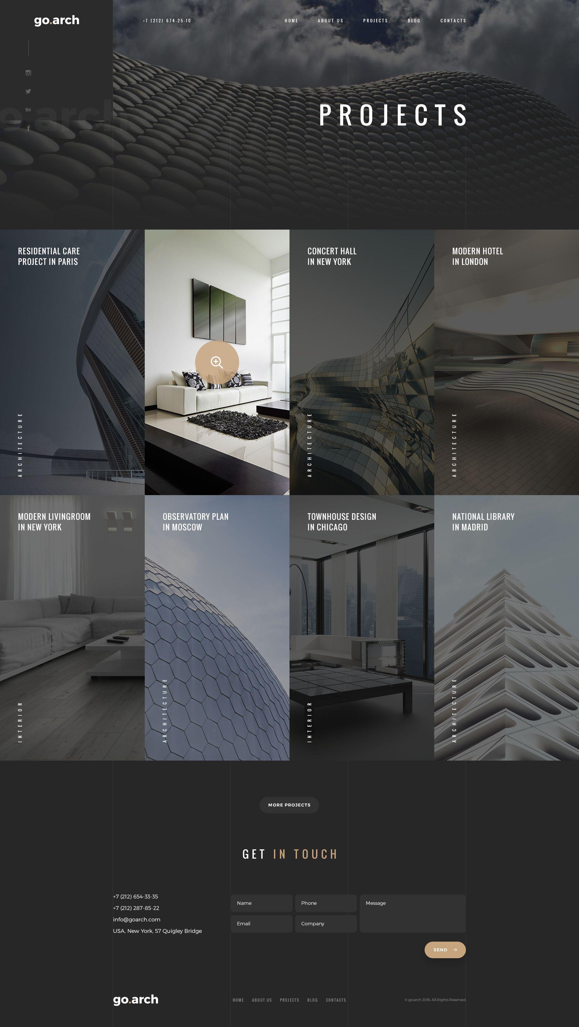 go.arch Architecture PSD Template Адаптивный веб