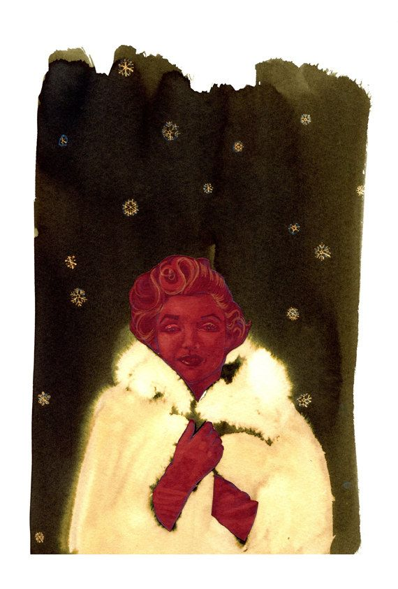 Warma Norma Giclee Print on A3 Cartridge Paper of Marilyn Monroe in a whit fur cape by XrayBexArt