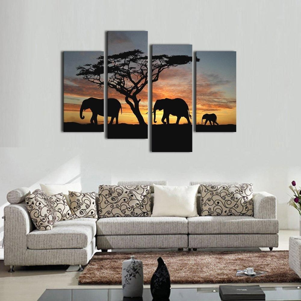 Multiple Canvas Painting African Forest Elephants Wall Art Painting Print On Canvas Wall Pictures For Canvas Art Wall Decor Modern Wall Art Canvas Wall Canvas