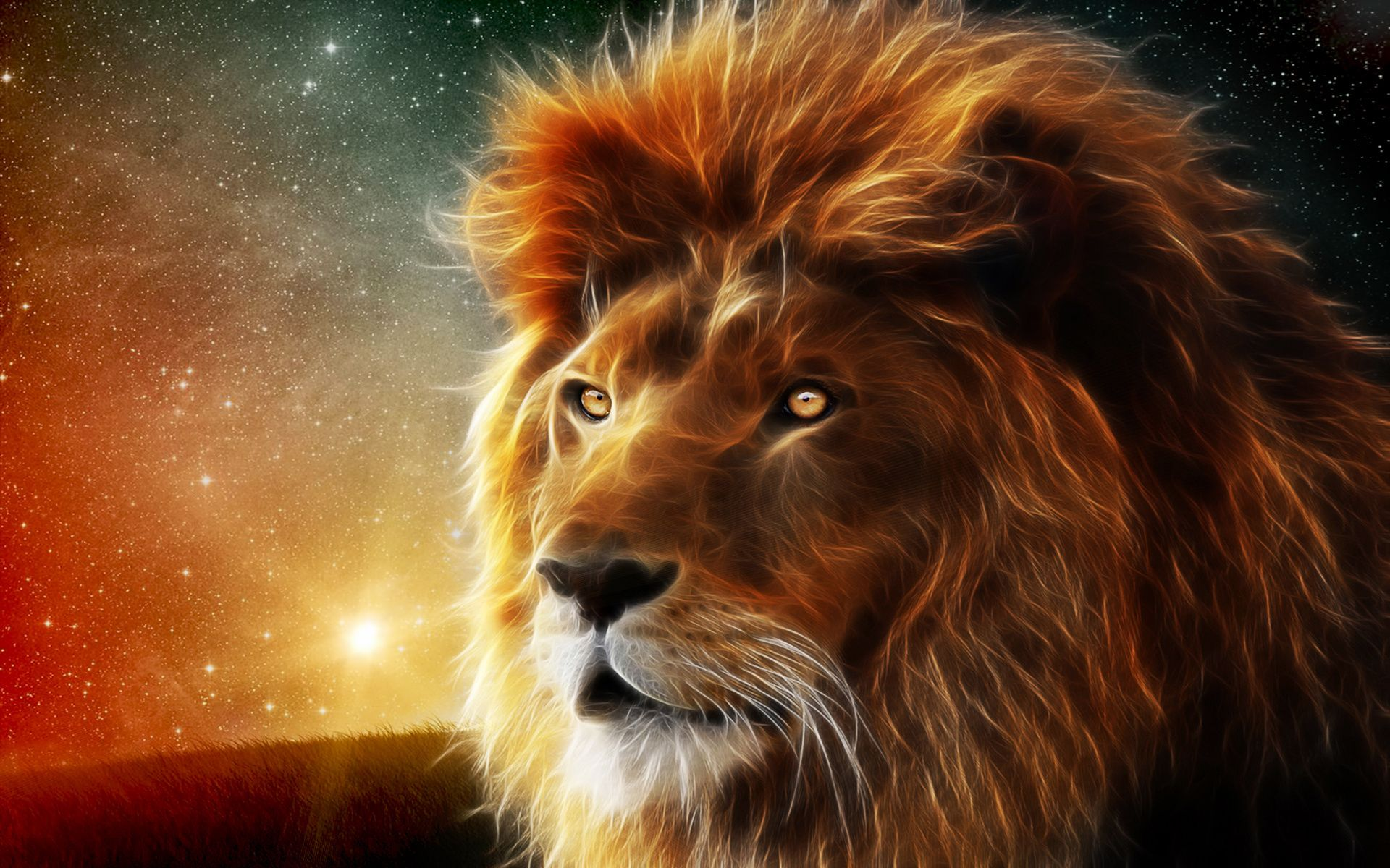 Animals Lion Abstract Fractal Sci Fi Space Nebula Stars Wallpaper 1920x1200 24134 Lion Pictures Lion Wallpaper Your Spirit Animal