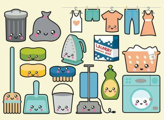 Laundry Doodle Art Laundry And Cleaning Supplies Kawaii Clipart
