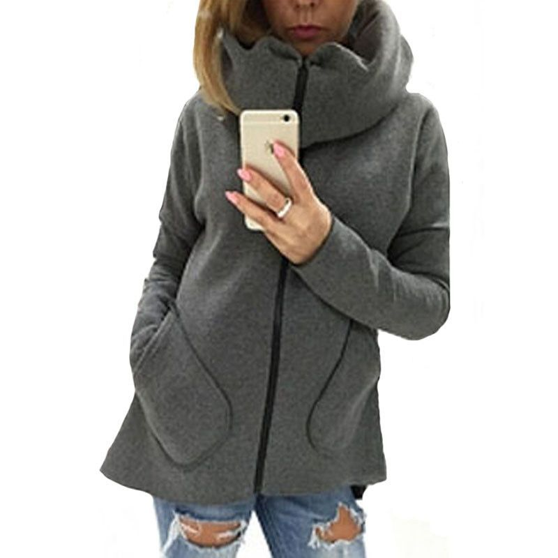 Women Cotton Casual Jacket Autumn& Winter Solid Slim Coat Zipper Packet Outwears Turtleneck Fashion New Brand QZ861