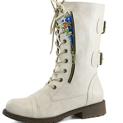 Women's Military Lace Up Buckle Combat Boots Ankle High Exclusive Credit Card Pocket Pink White
