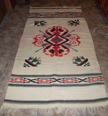 Vintage Mexican Navajo ? Southwestern Textile Wool Blanket Rug 73 X 38