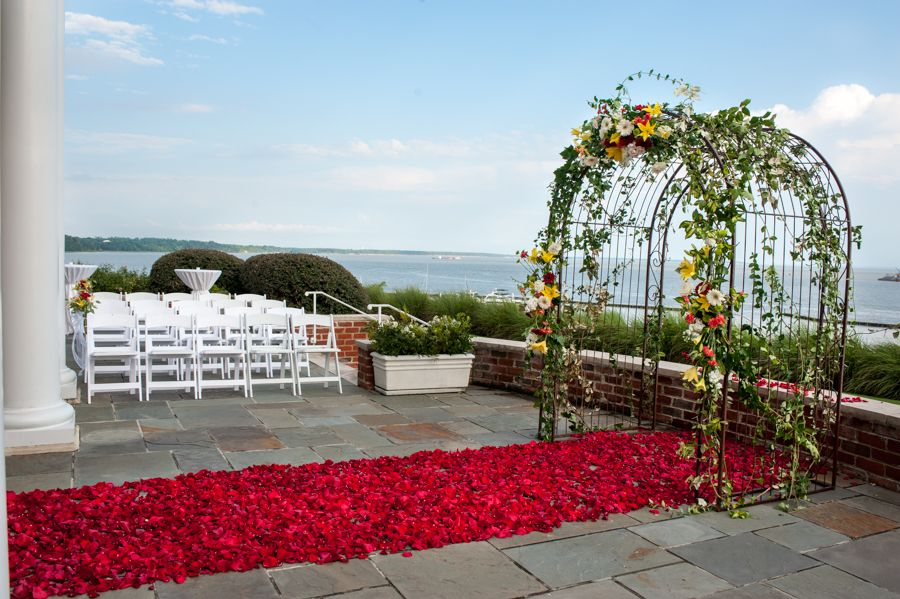 ceremony on the back patio at the Pettus House, a