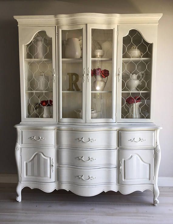 Painted Furniture French Country White China Cabinet Chalk Cabi