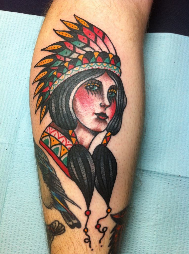 Native American girl bust Native indian tattoos, Indian