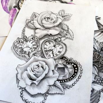 Besoin D Un Dessin Sur Mesure Alors Vous Etes A La Bonne Adresse In 2020 Clock And Rose Tattoo Rose Tattoo Design Unique Half Sleeve Tattoos