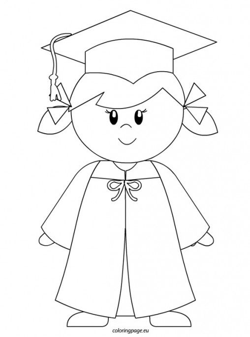 Kindergarten Graduate Girl Coloring Page Kindergarten Graduation Kindergarden Graduation Preschool Graduation Pre k graduation worksheets