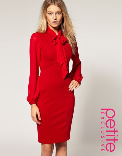 ASOS PETITE Tailored Dress With Chiffon Sleeve And Pussybow ...