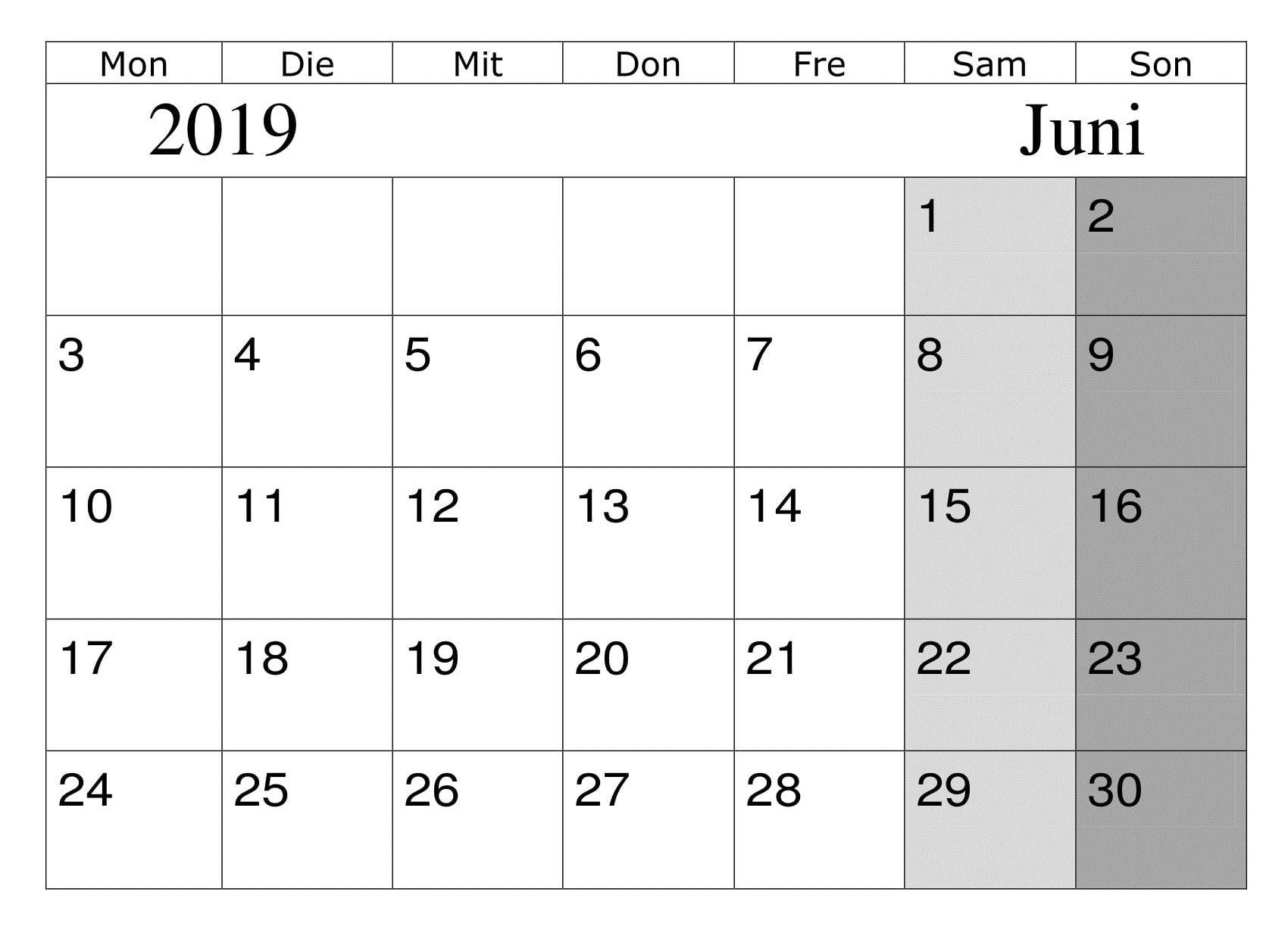 kalender 2019 pdf juni diagram