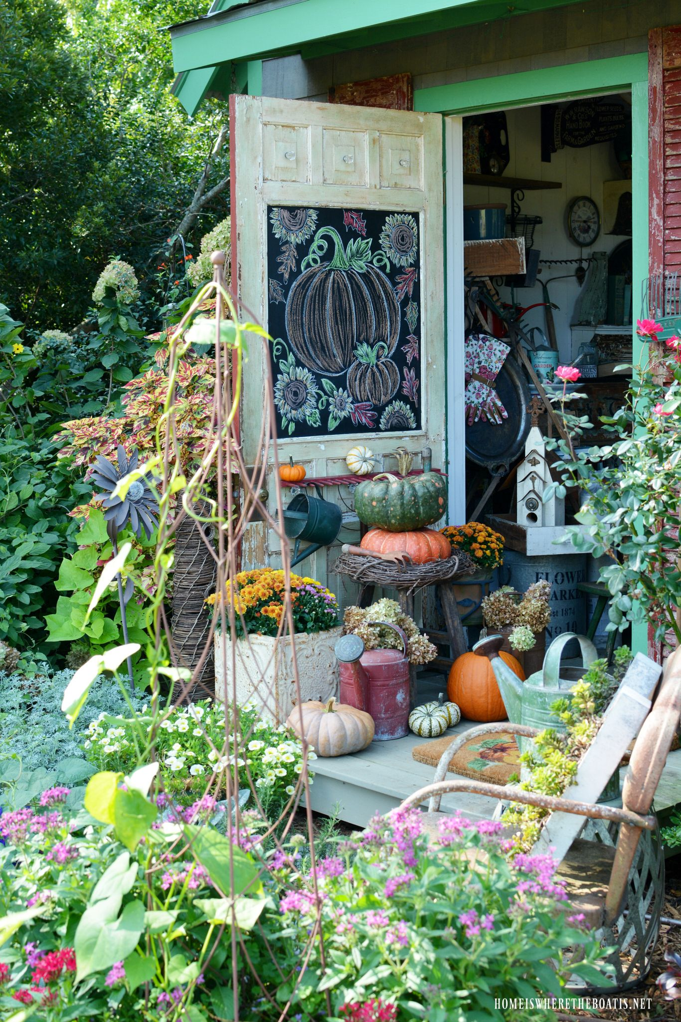 Chalkboard door on Potting Shed with pumpkins and mums ...