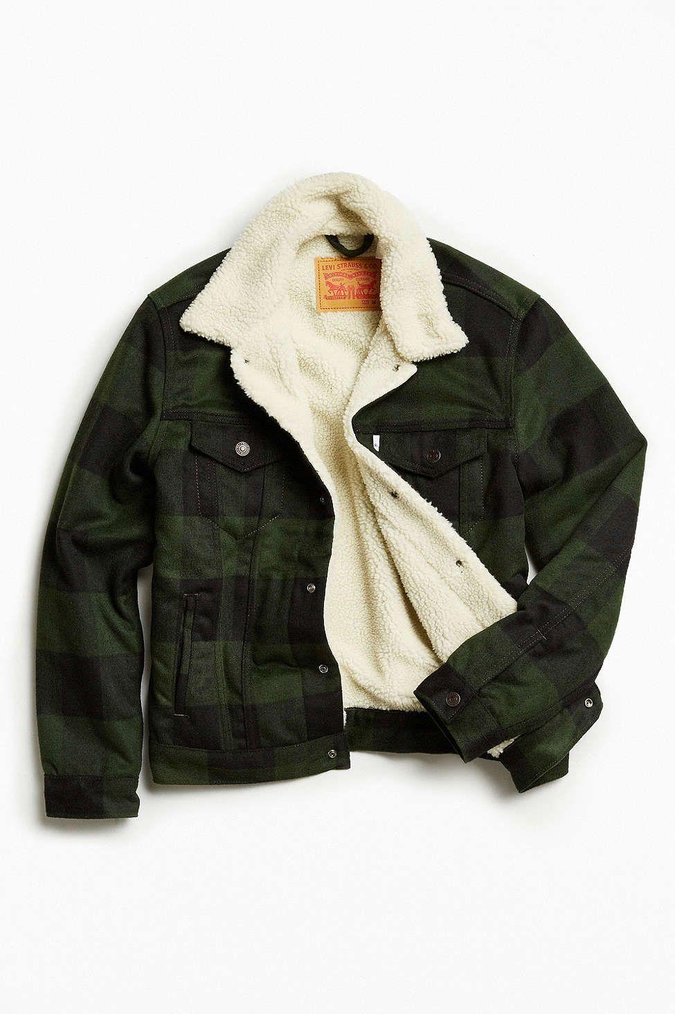 fd076f3de35b2 Levis Buffalo Plaid Flannel Sherpa Trucker Jacket - Urban Outfitters ...