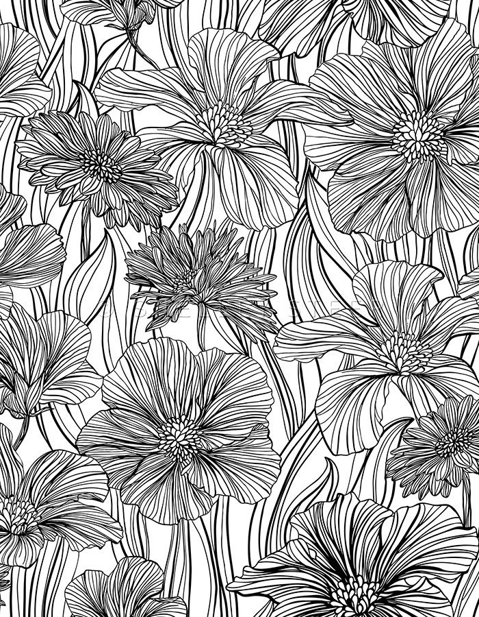 Target Line Floral Shelley Steer Coloring Book Art Printable Flower Coloring Pages Flower Coloring Pages