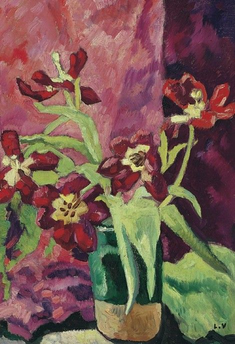 Louis Valtat, 1922 Vase aux tulipes rouges on ArtStack #louis-valtat #art