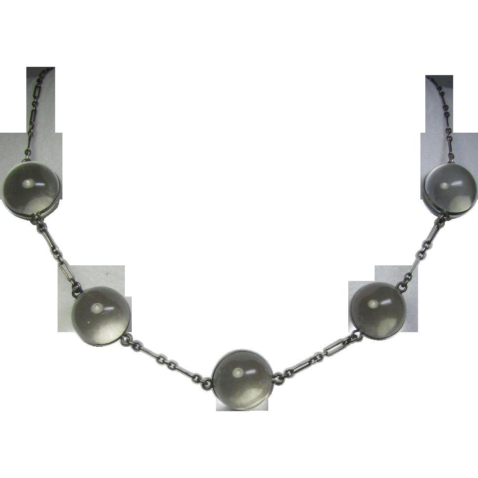 Laura's lifeintheknife on Ruby Lane: Antique Edwardian Sterling Silver Rock Crystal/Quartz Pools of Light Necklace
