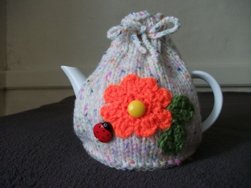 Hand Knitted Speckled Tea Cosy For A Small Teapot 1 2 Cup Cosy