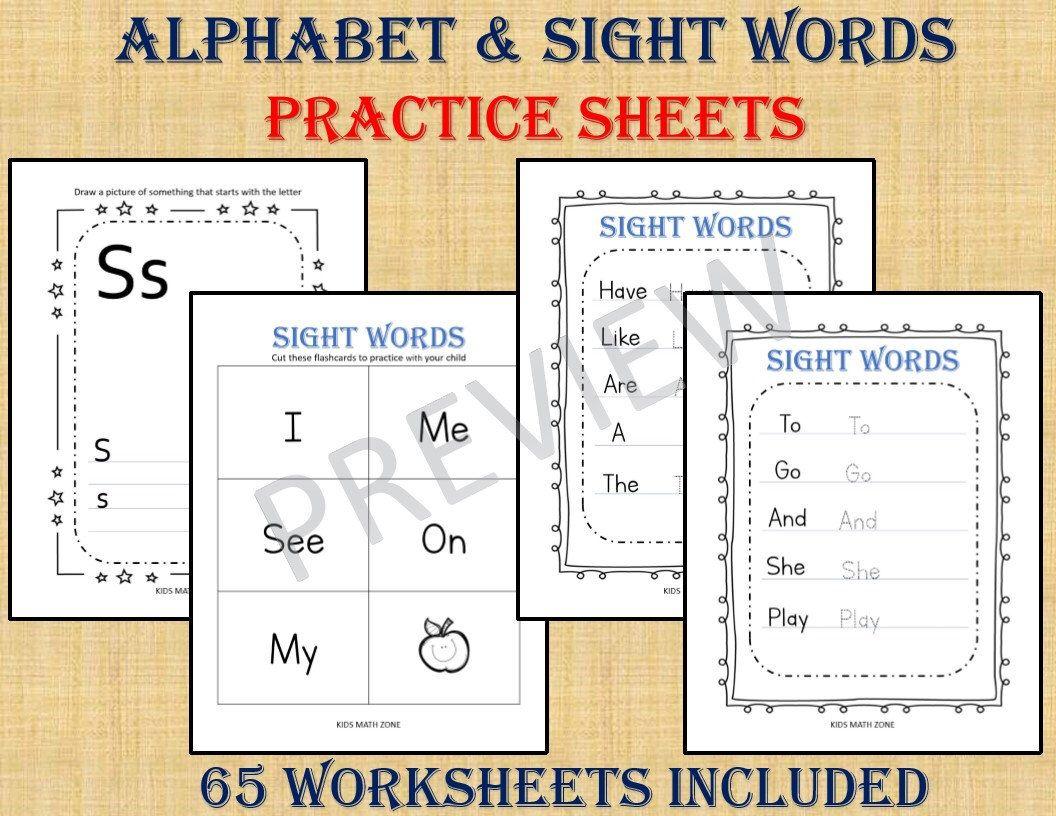 Alphabet Numbers 120 Worksheets Preschool Worksheets Etsy Kindergarten Workbooks Preschool Worksheets Math For Kids [ 816 x 1056 Pixel ]