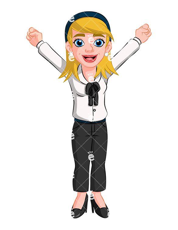 Winner Business Woman Cheering Vector Cartoon Clipart Friendlystock Cartoon Clip Art Business Women Cartoon Illustration