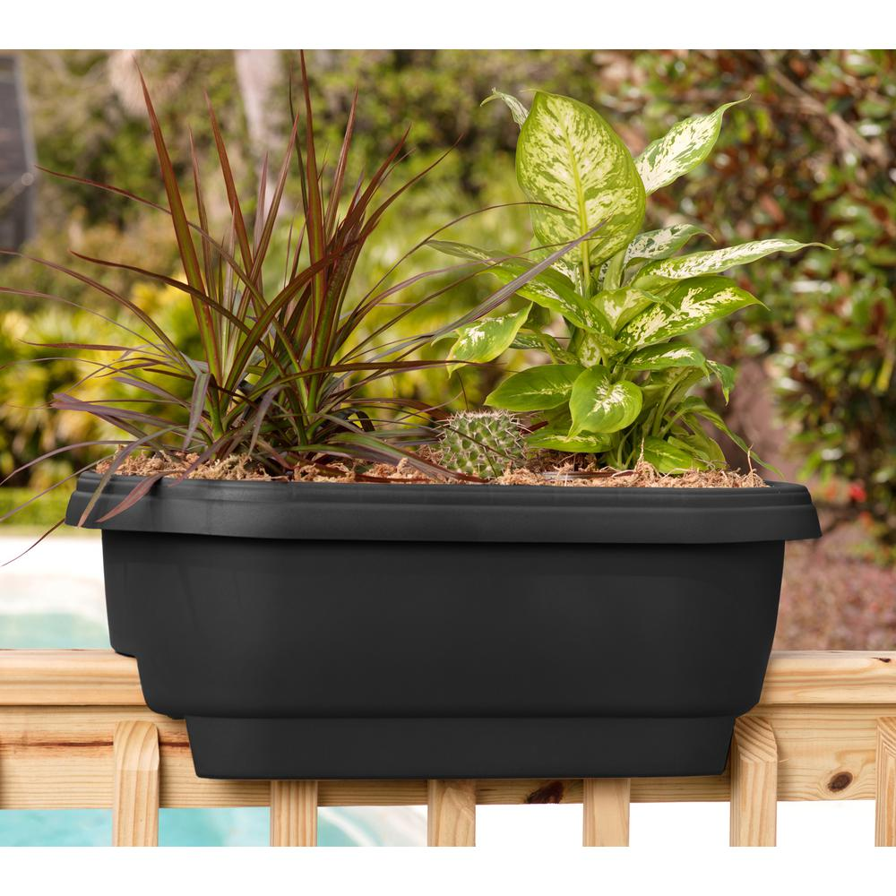 Bloem Deck Rail Planter 24 In Chocolate Plastic Deck Rail Planter Brown Deck Railing Planters Planters Self Watering Planter