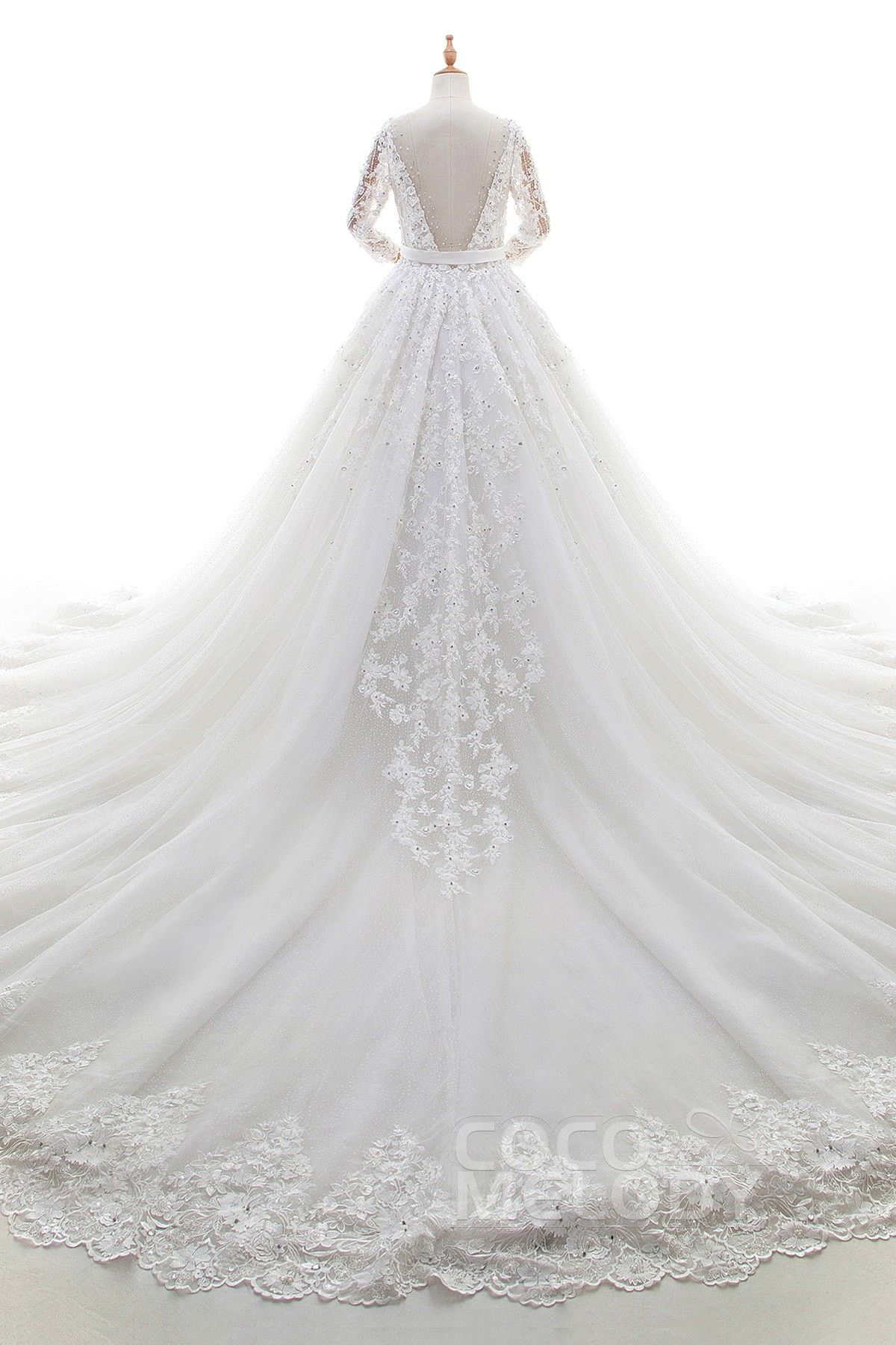 Fashion aline vneck natural cathedral train lace and tulle ivory