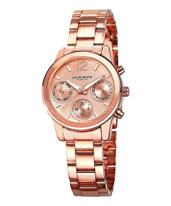 Look at this Rose Gold Chronograph Watch on #zulily today!