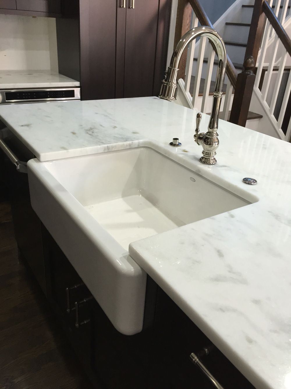Kohler Farmhouse Sink With Lorena White Quartzite Careful On The