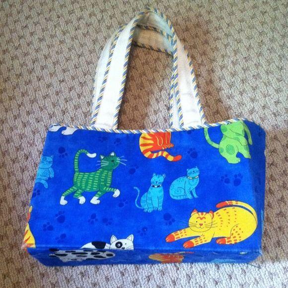 Handmade Cat Purse - KK Original Handmade cat print purse.  Previously loved!  Review all pictures for details. KK Original Bags