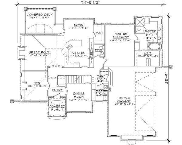 European Style House Plan - 6 Beds 5 Baths 4219 Sq/Ft Plan #5-421