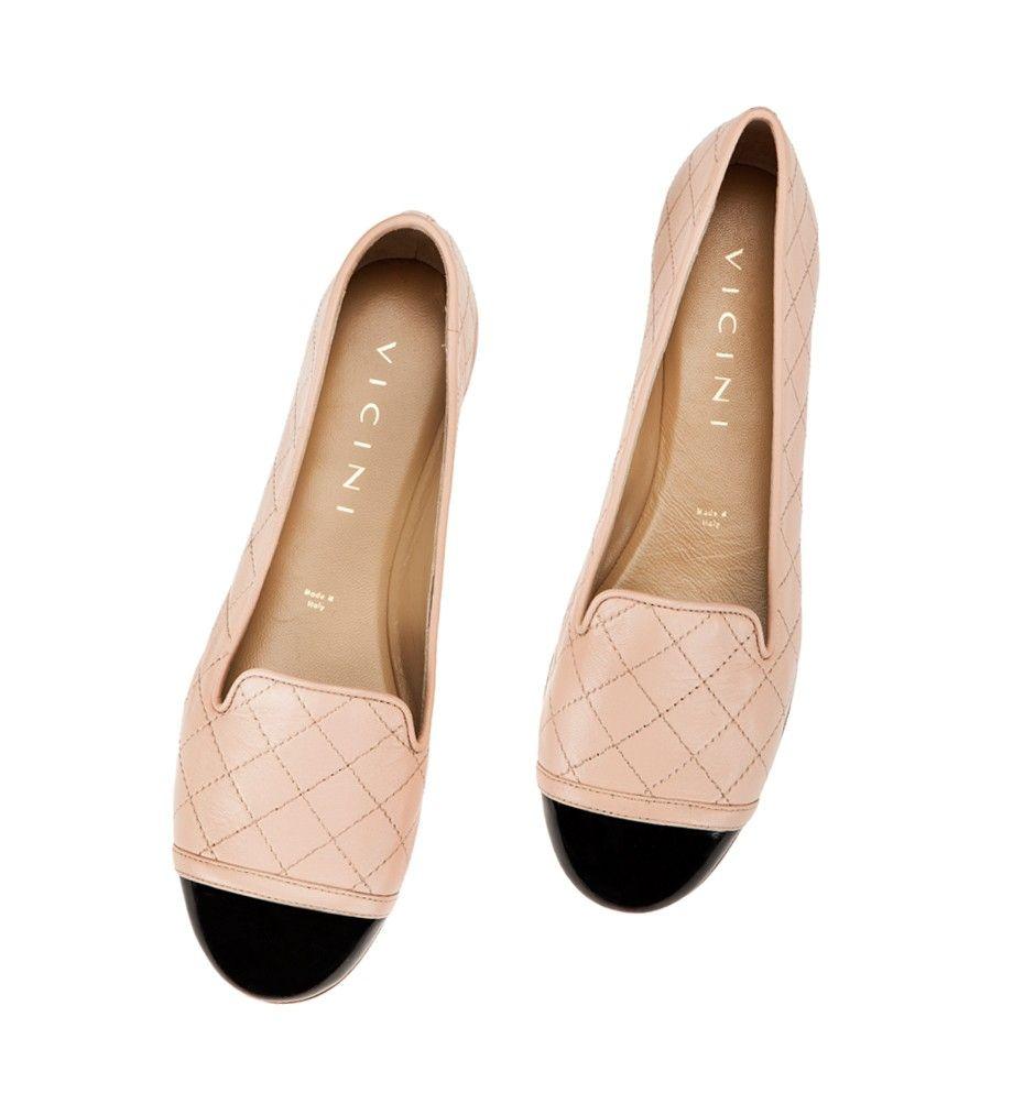 Vicini Nude nappa quilted leather black cap-toe ballet flats Giuseppe Zanotti Design Ballerinas #shoes #vicinishoes #vicini #ballerinas #balletflats