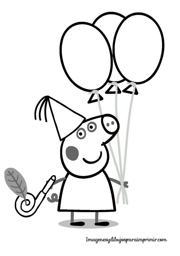 Dibujo de peppa pig de cumpleaños para colorear | Free coloring ...