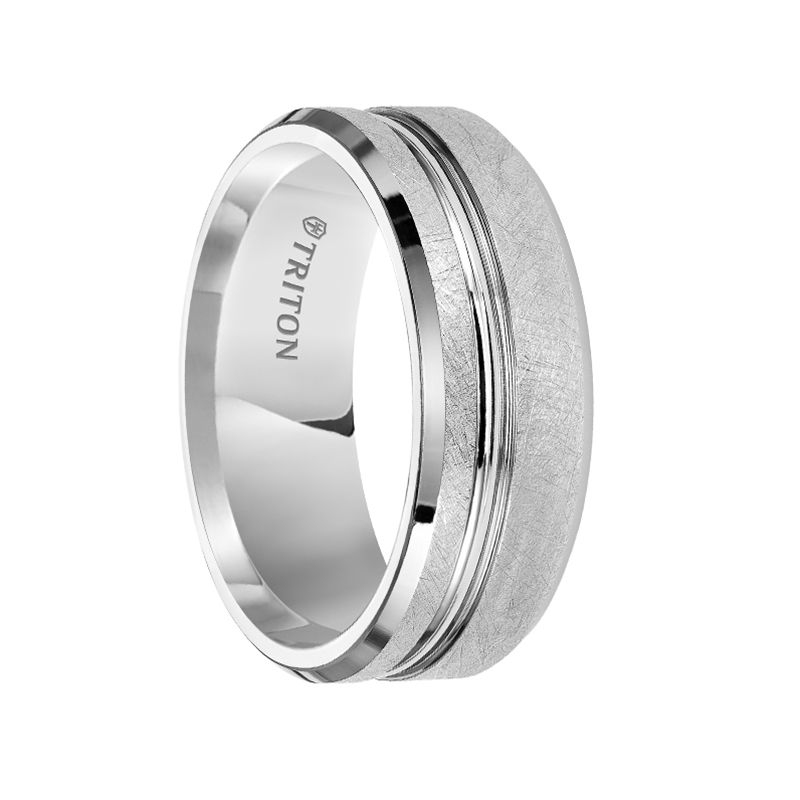 Triton Rings Marlon Polished Beveled White Tungsten Carbide Wedding Band With Crystalline Fin Tungsten Carbide Wedding Bands Tungsten Mens Rings Triton Rings