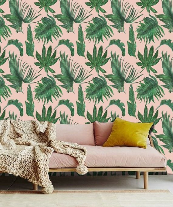 Palm Leaf Wallpaper Wall Mural Removable Wallpaper Peel Etsy Wall Wallpaper Palm Leaf Wallpaper Leaf Wallpaper