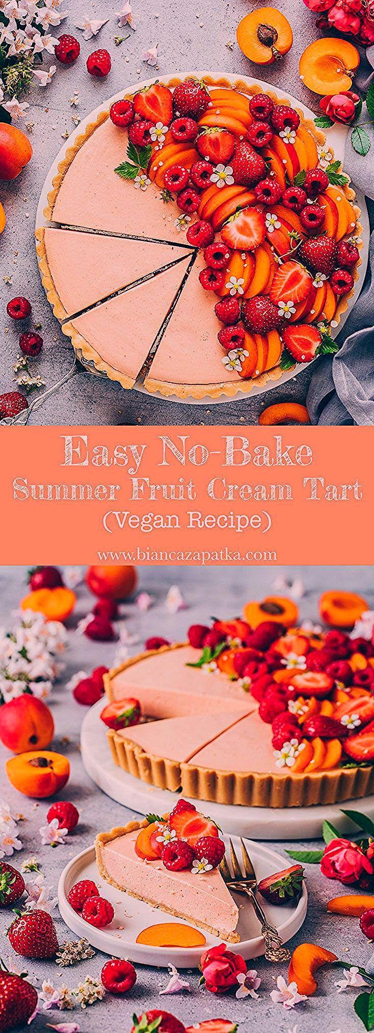 Photo of Summer fruit tart recipe. Easy vegan no-bake tart pie made of simple cookie crus…