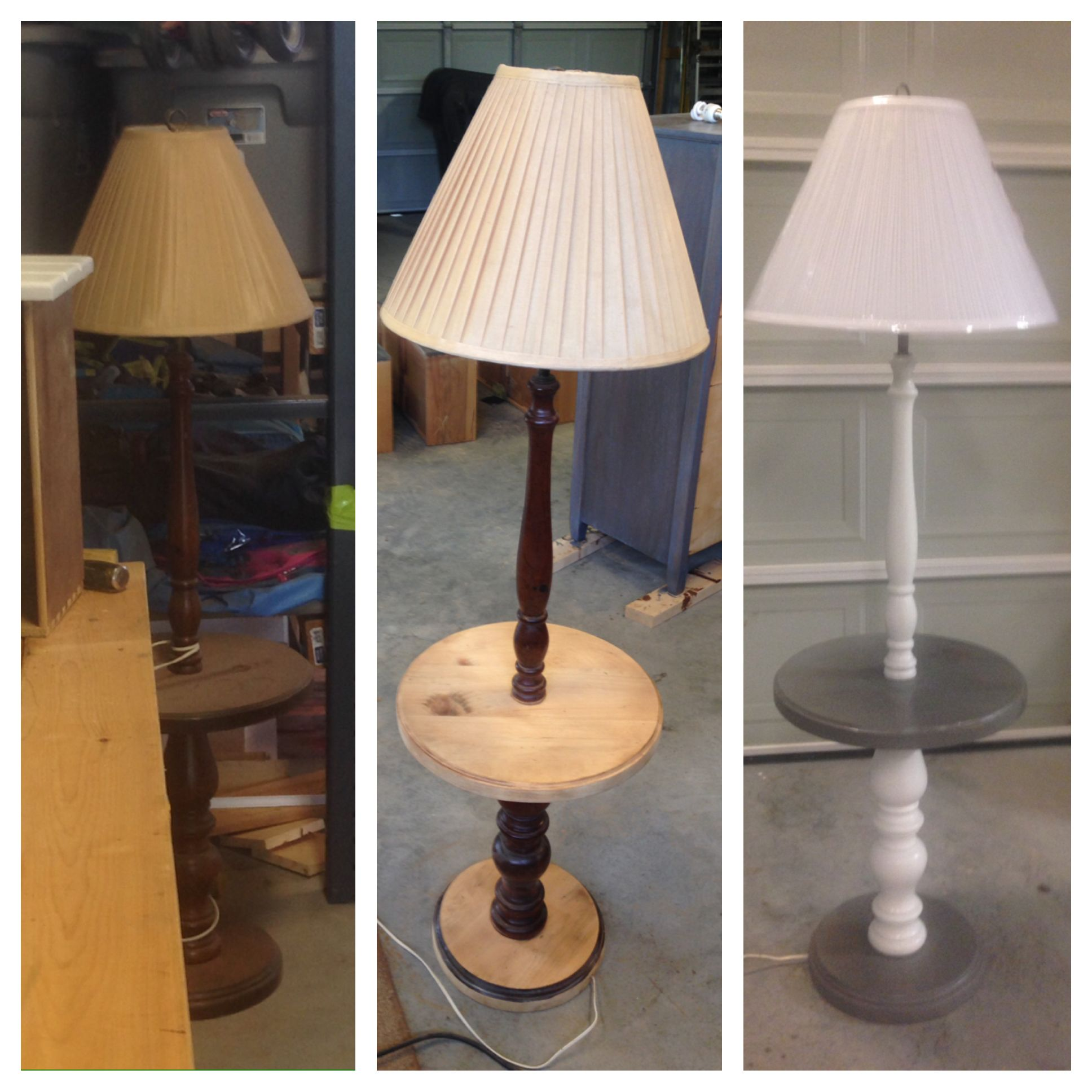 Driftwood Refinished End Table With Built In Lamp Lamp Floor